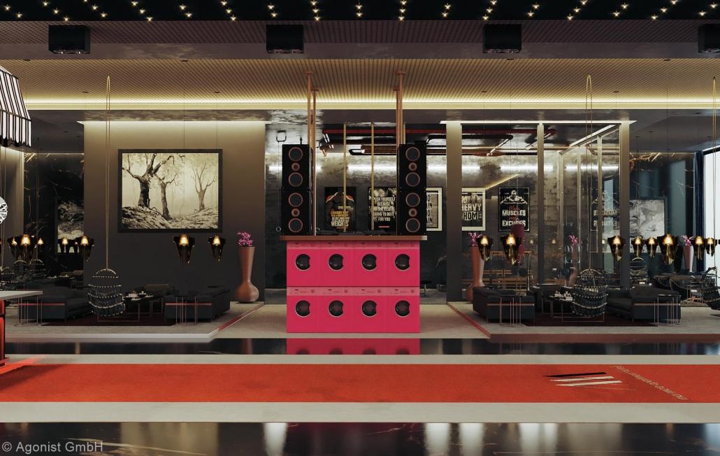 Rosarote Waschmaschinen in der Open Lobby 4.0