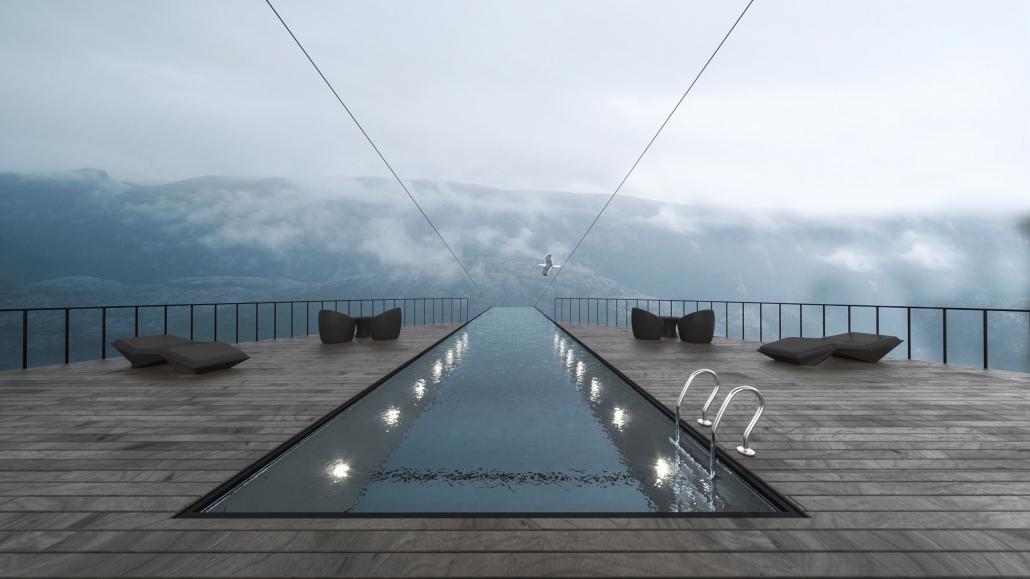 Der Blick auf Ruhezonen und Infinity-Pool des Klippen-Boutique-Hotels in Norwegen